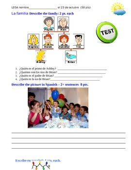 realidades lesson 5A test