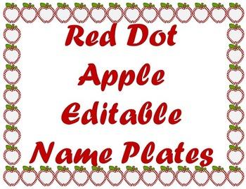 Red Dot Apple Editable Name Plates