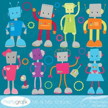 robot clipart commercial use, vector graphics, digital cli