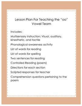"""Multisensory Lesson  For Teaching the """"oo"""" Vowel Team (moon)"""