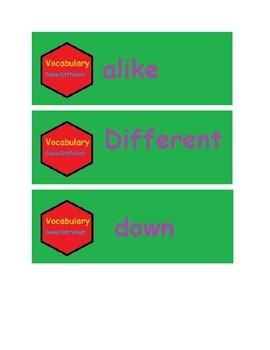 same/different vocabulary