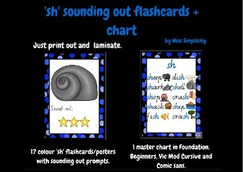 'sh' PHONIC flashcards and chart - 17 sounding out flashca