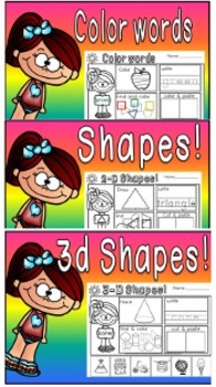 shapes,numbers and color words