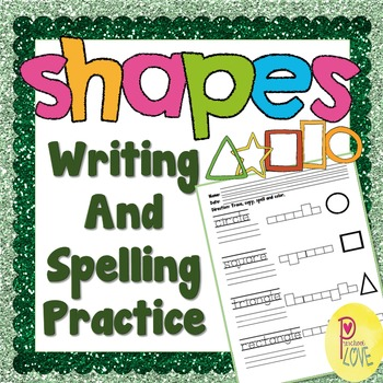 shapes writing and spelling worksheet
