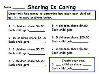 sharing money 2nd & 3rd grade