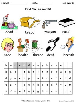 short ea phonics lesson plans, worksheets and other teachi