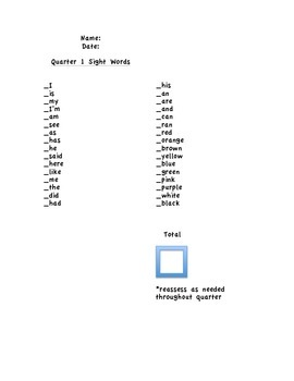 sight words by quarter