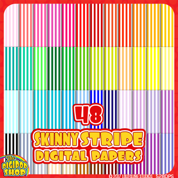 small stripe pattern digital paper// 48 colors, black and