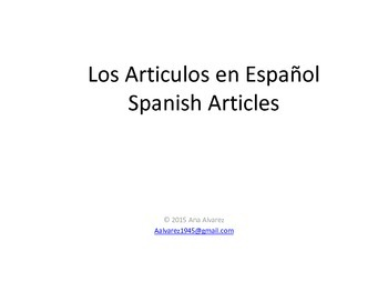 spanish definite and indefinite articles