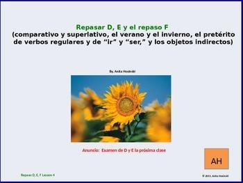 2nd year spanish asi se dice Repasos D, E & F teacher less