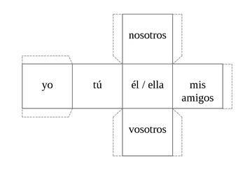 spanish verb dice: subject pronoun cube