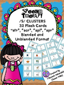 speech therapy /s/ cluster 32 Flash Cards spl spr scr str