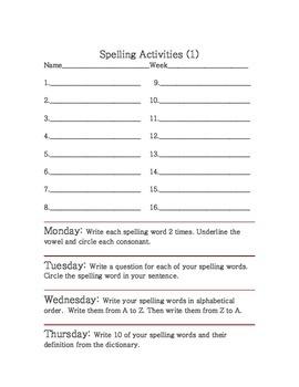 spelling activities printables