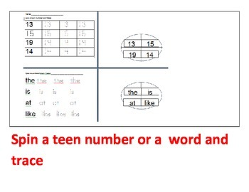 teen numbers and words spin and read centers