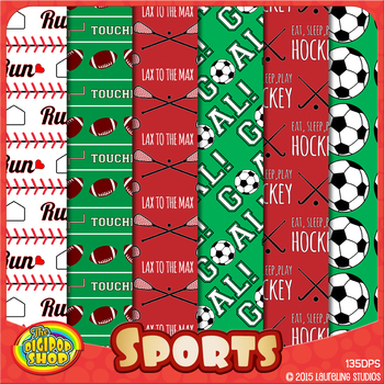 sports digital paper with baseball, soccer, football, hock