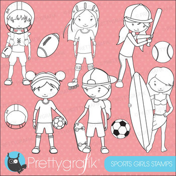 sports girls stamps commercial use, vector graphics, image