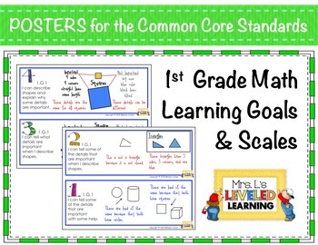 1st Grade CC Math Posters (1.G.1-3) with Learning Goals an