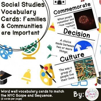 1st Grade Social Studies Vocabulary Cards: Families are Im