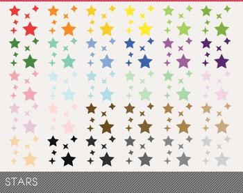 stars Digital Clipart, stars Graphics, stars PNG, Rainbow