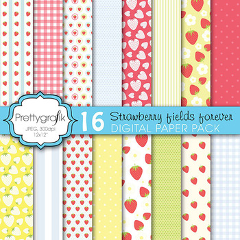 strawberry digital paper, commercial use, scrapbook papers