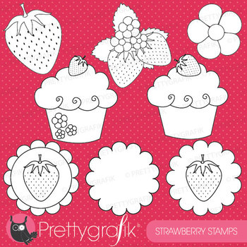 strawberry digital stamp commercial use, vector graphics,