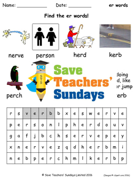 stressed er phonics lesson plans, worksheets and other tea
