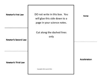 study guide foldable for Newton's Laws test