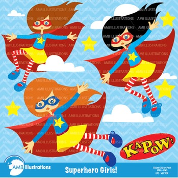 Superhero girls clipart AMB-210