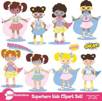 Superhero girls Clipart, Digital Clip art instant download