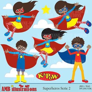 Superhero girls clipart, African American Superhero clipar