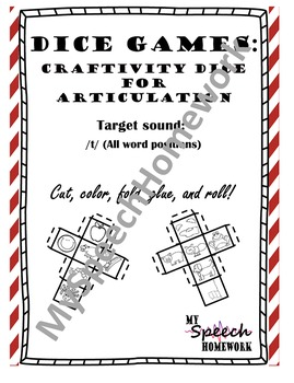 /t/ Articulation Dice Craft - initial, medial, & final
