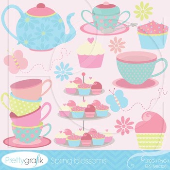 tea party clipart commercial use, vector graphics, digital