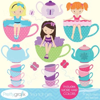 tea party clipart for scrapbooking, commercial use, vector