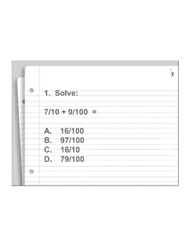 4th Grade ActivInspire 5 question assessment 4.NF.C.5 (Add
