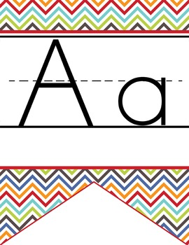 the BRAINY BUNCH - Alphabet Flag Banner, handwriting, A to