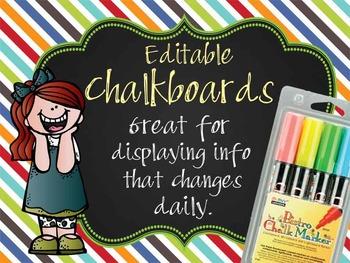 the BRAINY BUNCH - Class Decor: editable chalkboard POSTER
