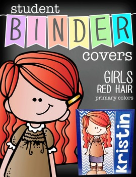 the BRAINY BUNCH - GIRLS - Student Binder Covers - red hai