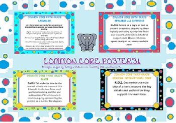 third grade common core ela and math posters - all
