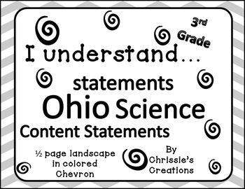 I can statements 3rd grade SCIENCE for OHIO in gray and wh