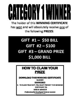 FREE   CATEGORY 1 WINNER . . . DOWNLOAD YOUR WINNING CERTI