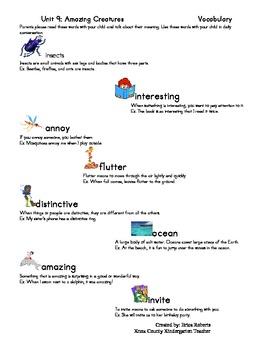 treasures Vocabulary unit nine-amazing creatures