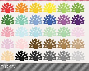 turkey Digital Clipart, turkey Graphics, turkey PNG, Rainb