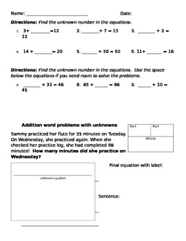 unknown addition problems and word problems