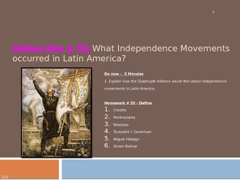 Global Aim # 55 What Independence Movements occurred in La