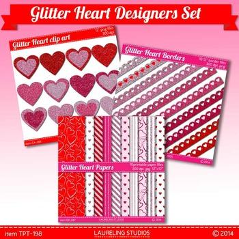 valentine glitter clip art/digital paper designer set