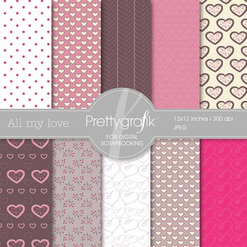 valentine, heart digital paper, commercial use, scrapbook
