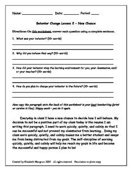 variet pack behavior reflection worksheets