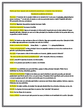 vocabulario academico de STAAR 3er grado