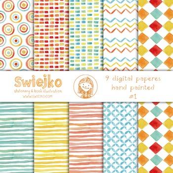 watercolor digital paper, circus, kids pattern, stripes, c