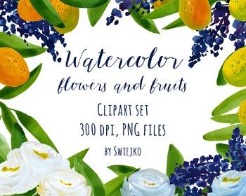 watercolor flowers, orange blossom clipart set #19